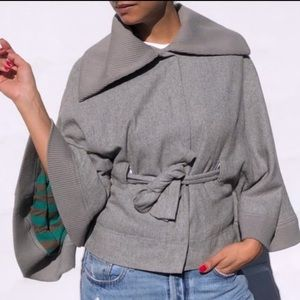 Free People Wool Olmstead Belted Cape Coat Gray M